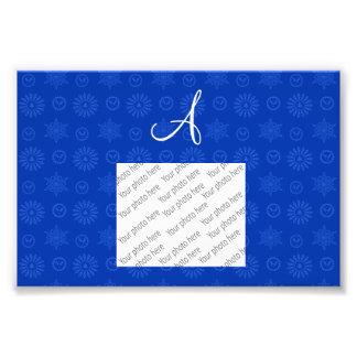 Monogram blue christmas stars snowflakes art photo