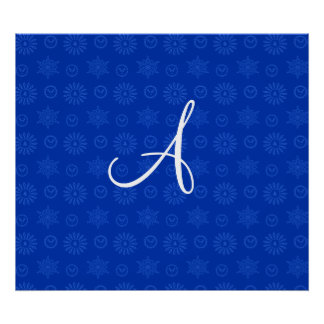 Monogram blue christmas stars snowflakes posters