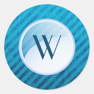 Monogram Blue Circle on Blue Diagonal Stripes Round Sticker