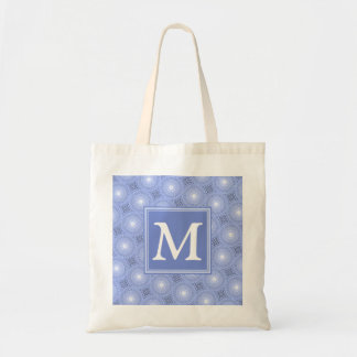 Monogram blue circles pattern tote bag
