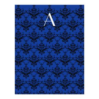 Monogram blue damask personalized flyer
