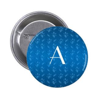 Monogram blue dog paw prints 6 cm round badge