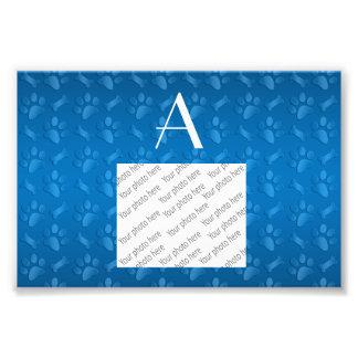 Monogram blue dog paw prints photo art