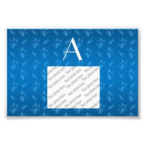 Monogram blue dog paw prints photo print
