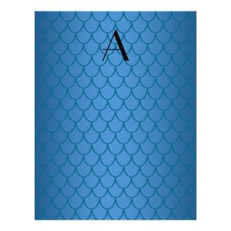 Monogram blue dragon scales 21.5 cm x 28 cm flyer