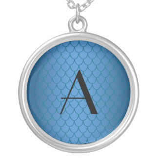 Monogram blue dragon scales silver plated necklace