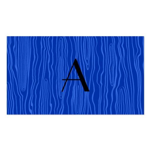 Monogram blue faux bois business card template