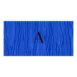 Monogram blue faux bois custom photo card