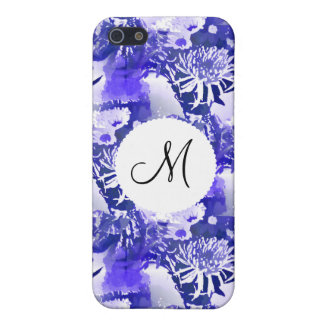 Monogram Blue Flower Bouquet in Vase Floral Print Cover For iPhone 5/5S