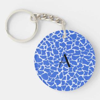 Monogram blue giraffe print acrylic keychain