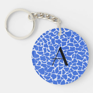 Monogram blue giraffe print acrylic key chain