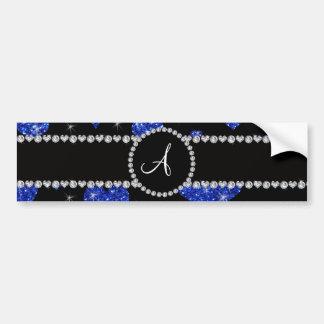 Monogram blue glitter hearts black diamonds circle bumper sticker