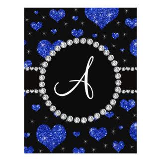 Monogram blue glitter hearts black diamonds circle custom flyer