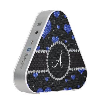 Monogram blue glitter hearts black diamonds circle speaker