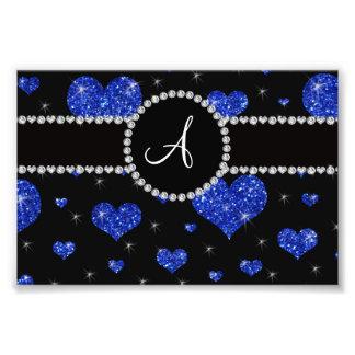 Monogram blue glitter hearts black diamonds circle photographic print