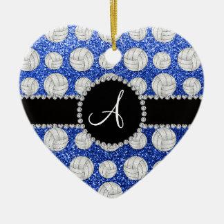 Monogram blue glitter volleyballs black circle christmas ornament