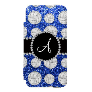 Monogram blue glitter volleyballs black circle incipio watson™ iPhone 5 wallet case