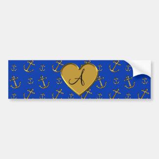 Monogram blue gold anchors bumper sticker