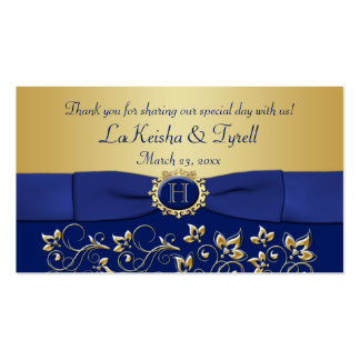 Monogram Blue Gold Floral Favor Thank You Tag Pack Of Standard Business Cards