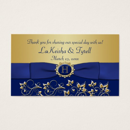 Monogram Blue Gold Floral Favour Thank You Tag