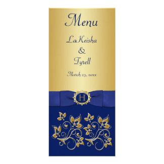 Monogram Blue, Gold Floral Menu Card