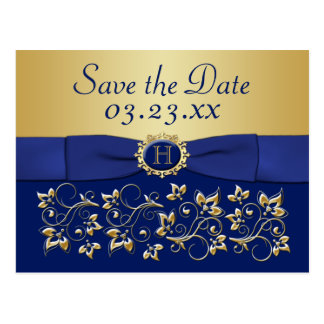 Monogram Blue, Gold Floral Save the Date Post Card