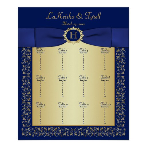 Monogram Blue, Gold Floral Table Seating Poster