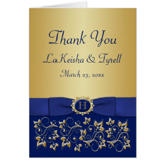Monogram Blue, Gold Floral Thank You Card
