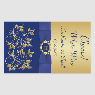 Monogram Blue, Gold Floral Wine Label Sticker