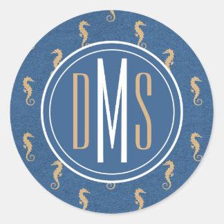 Monogram | Blue & Gold Seahorses Round Sticker