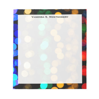 Monogram Blue, Green, Red, Gold Abstract Geometric Notepad