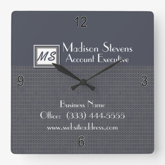 Monogram Blue, Grey Pattern Wall Clock