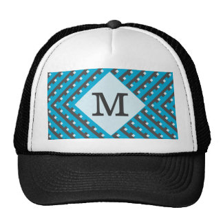 Monogram Blue Grid Customizable Mesh Hats