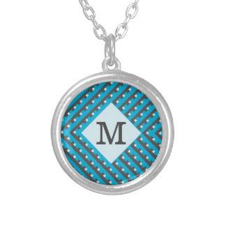 Monogram Blue Grid Customizable Pendants