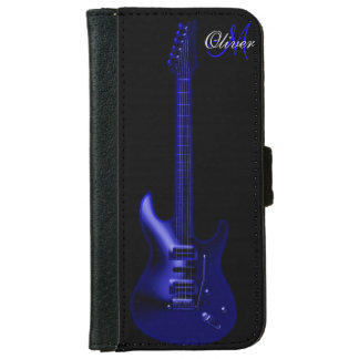 Monogram Blue Guitar Music Wallet iPhone 6 Case