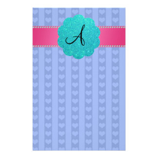 Monogram blue hearts and stripes stationery