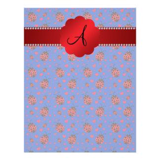 Monogram blue ladybugs hearts 21.5 cm x 28 cm flyer
