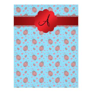 Monogram blue ladybugs hearts pattern 21.5 cm x 28 cm flyer