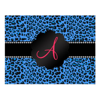 Monogram blue leopard pattern postcard