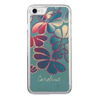 Monogram Blue Magenta Whimsical Ikat Floral Pattrn Carved iPhone 8/7 Case