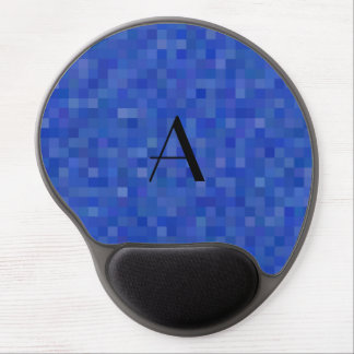 Monogram blue mosaic squares gel mouse pad