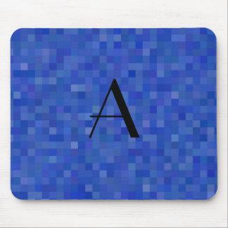 Monogram blue mosaic squares mouse pad
