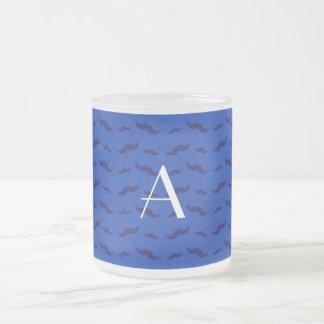 Monogram blue mustache pattern mugs