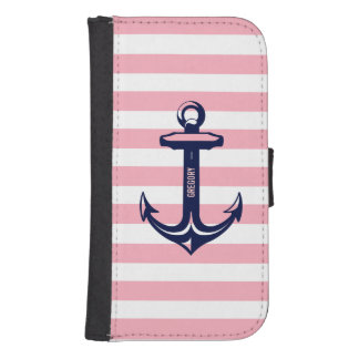 Monogram Blue Nautical Anchor Pastel Pink Stripe Samsung S4 Wallet Case