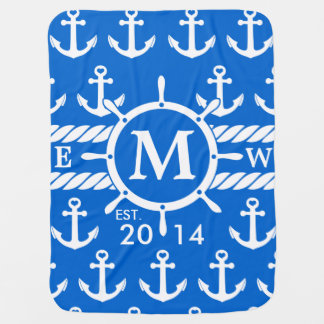 Monogram Blue Nautical Anchors Pattern Baby Blanket