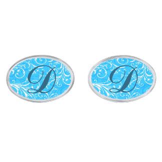 Monogram Blue Ornamental Cufflinks Silver Finish Cuff Links