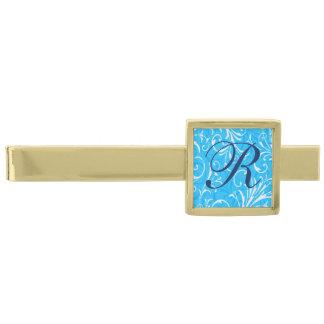 Monogram Blue Ornamental Tie Bar Gold Finish Tie Clip