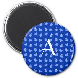Monogram blue owls and hearts fridge magnet
