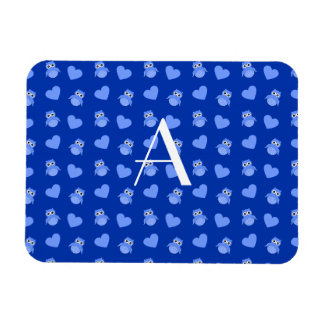 Monogram blue owls and hearts rectangular magnets