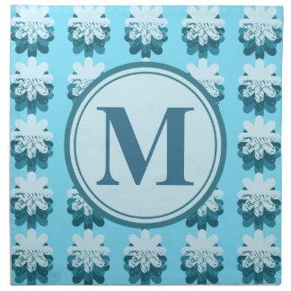 Monogram Blue Petal Pattern Printed Napkin